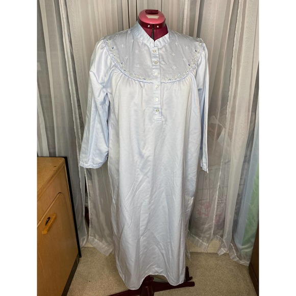 satin nightgown blue embroidered collar